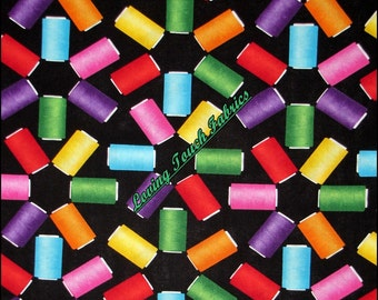 """Benartex """"Needles and Pins"""" #05791 Sewing Theme Spools of Thread Cotton Fabric 1/2 Yd. 18"""" x 44"""""""