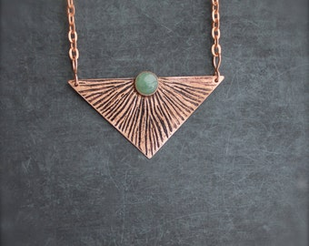 Etched Copper Sun Ray Pendant Necklace Oxidized Metalwork Green Aventurine Gemstone Geometric Triangle Boho Jewellery