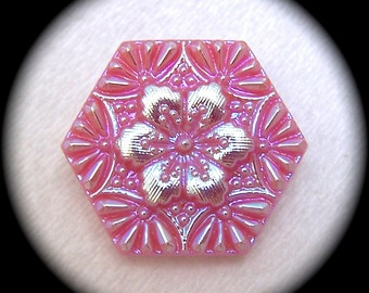2 Czech Glass Buttons on SALE,  22mm 7/8 inch Iridescent Aqua Pink Flower Glass Buttons on Pink Hexagon Shape - CLEARANCE