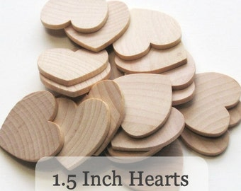 Unfinished Wooden Hearts - 1.5 inch - Pack of 50