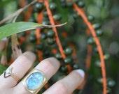 Opal ring, statement ring, cocktail ring, resin ring, gold, adjustable // AURORA RING