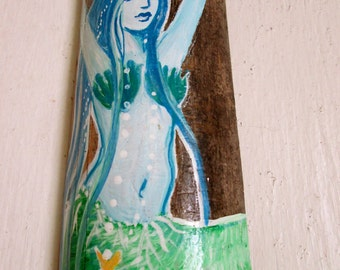 Hand Painted Mermaid  Beach Home Decor-Blue , Green and Sea foam Wall Hanging