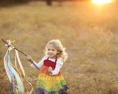 Rainbow Twirl Dress, Summer Sundress, Rainbow Party Dress for Girls, Children Clothing, Rainbow Baby, 12 - 18 months, 1T, 2T, 3T, 4t, 5, 6
