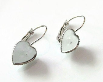 10 pcs (5 pr) 10mm Heart Silver Tone Earring Blanks Bezels Trays Settings for mosaics, resin, polymer clay, photos