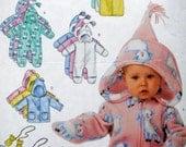 Butterick 3315 - Cute Baby Polar Fleece Items - Onesie, Hoodie, Bunting, Pants, Mittens, Overalls - Warm & Cozy - Newborn - Medium