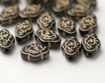 Acrylic Beads Etched Black Gold Acrylic Flower Oval 17mm (20)
