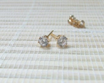 Cubic Zirconia Gold fill earrings April Birthstone 4mm