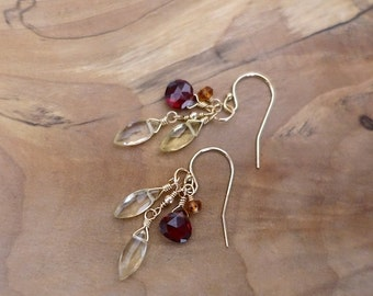 Multi Gemstone Earrings, Gold Lemon Quartz Garnet Earrings, Gold Filled Lemon Quartz Garnet Dangle Earrings, Gold Filled Gemstone Earrings