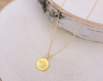 Yellow Gold Lotus Necklace, Gold Lotus Flower Disc Charm, Gold Vermeil Charm, 14K Gold Filled Chain, Gold Vermeil Lotus Flower Disc Necklace