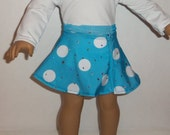 Blue Skater Skirt, 18 Inch Doll, White Polka Dots, Dancewear, Sequin Skirt, American Made, Girl Doll Clothes