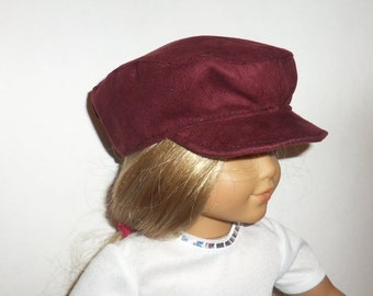18 Inch Doll Newsboy Hat, Burgandy Doll Hat, 15 Inch Baby Doll, Biker Cap, American Made, Girl Doll Clothes