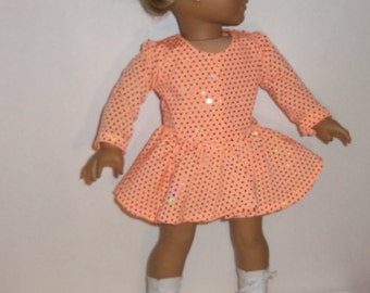 Ice Skating Outfit, 3 pc Sparkling, Coral Colored, Skating Dress, 18 inch Doll, American Made, Girl Doll Clothes, Dancewear