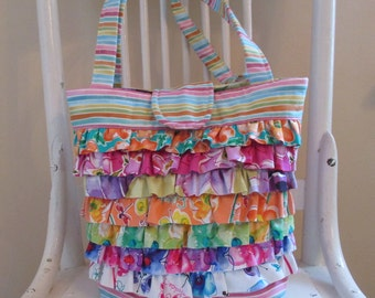 Ruffled Shoulder Bag , Purse With Ruffles , Floral Ruffled Bag , Summer Shoulder Bag , Bag With Flowers