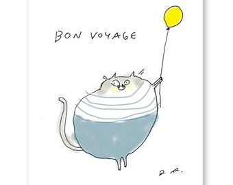 Bon Voyage - Funny Cat Card - Travel - Vacation