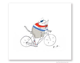 Tour de France Cat Print - Bike Art - Cycling Cat - Bastille Day