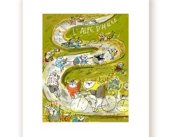 Tour de France Print - L'Alpe D'Huez - Cycling Poster - Bike Art - Cat Art