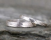 Sterling Silver Wedding Bands  - Silver Bands - Rustic Wedding Bands - Wedding Rings - His and Hers - Bark Hammered Texture