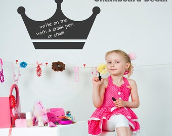 Princess Crown Chalkboard Wall Decal Self Adhesive large vinyl lettering wall sticker girls room nursery