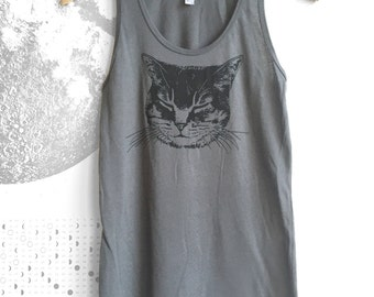 Cat Shirt Cat Tank Top, Grey Cat Kitty Shirt Cat Lover Crazy Cat Lady Cat t-shirt, yoga tank clothes, kitten shirt men's cat shirt boho yoga