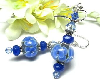 Encased Flower Earrings, Lampwork Earrings, Glass Earrings, Blue Earrings, Encased Earrings, Beaded Earrings, Artisan Earrings