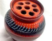 Modern Art Pottery Vase - Flower Frog - Mid-Century Modernism - KeRAMik - Orange  and Blue partially unglazed terra cotta
