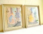 Pair of 1940s Ballroom Scenes in Painted Picture Frames with Convex Curved Glass Reverse Painted