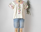 Subtle Hand Cross Blouse Stitch Oaxacan Pueblo MEXICAN Top