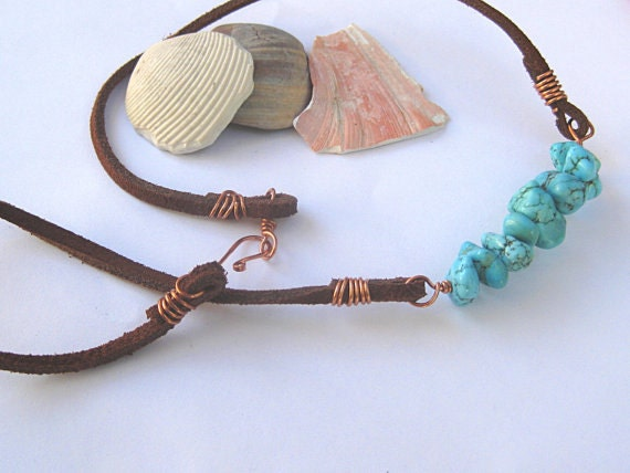 Leather necklace, turquoise necklace, copper wire wrapped, unisex jewelry, mens necklace, bohemian, boho, turquoise blue, brown leather