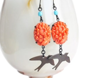 Orange Flower Earrings Vintage Carved Glass Earrings Orange Dangles Chrysanthemum Jewelry Floral Bird Mum Earrings Orange Floral