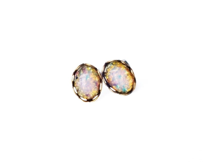 Opal Studs Tiny Studs Vintage Glass Harlequin Fire Opal Post Earrings Hypoallergenic Bridesmaid Gifts For Women