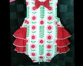 Baby Girl Romper - Baby Sunsuit Romper - Photo Prop Outfit - Cake Smash Outfit  - Floral Romper - 1st Birthday Romper - Ruffles Romper