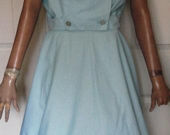 Vintage Aqua White Stripe Cotton Two Piece Summer Suit Double Breasted