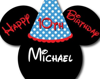 Birthday Mouse Head Magnet for Disney Cruise Cabin Door Blue