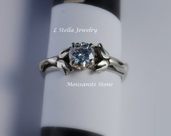 Engagement Ring Sterling Flower - Lily of the Valley gem in 4 or 6 prong setting White Sapphire,  Aquamarine,