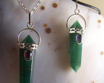 ONE Green Aventurine crystal  necklace pendant - Double Terminated polished stone point with garnet or Amethyst cabochon on chain or cord