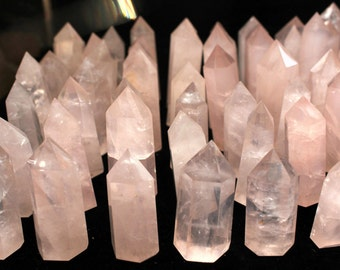 Rose Quartz Crystal natural polished prism - wire wrap jewelry piece display - pink crystal point flat bottom natural 2 inch coyoterainbow