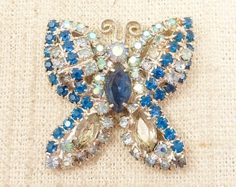 Vintage Iridescent Blue Rhinestone Butterfly For Crafting