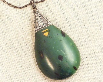 SALE ---- Unusual Vintage Artist Signed Green Speckled Resin Sterling Droplet Necklace on an LVP France Sterling Rectangular Chain