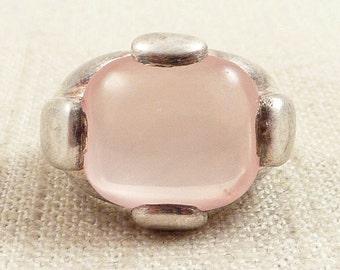 SALE ---- Size 6 Vintage Huge Polish Sterling Unconditional Rose Quartz Ring
