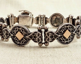 SALE --- Vintage Sterling and Gold Flourishing Medallion Heart Link Bracelet