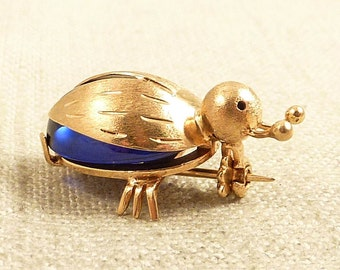 Vintage 18K Gold and Blue Topaz Bitty Bug Brooch