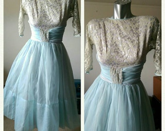 Vintage 50s Style Baby Blue Chiffon and Lace Dress