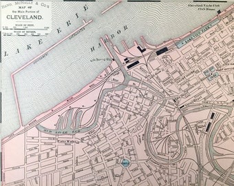 1900 Antique Map of Cleveland, Main Portion