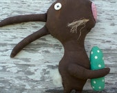 Extreme Primitive Folk Art Chocolate Rabbit Spring Easter Shelf Sitter Art Doll