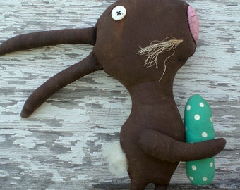 Extreme Primitive Folk Art Chocolate Rabbit Spring Easter Shelf Sitter Art Doll