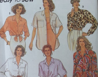 Misses Loose Fitting Shirt Pattern Simplicity 8188 Misses Size 10-16 Short Sleeve or Long Sleeve Shirt Pattern
