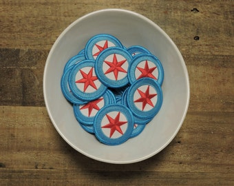 Chicago Flag Sew On Patches-  Set of FOUR