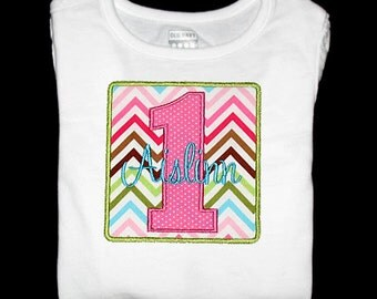 Custom Personalized Applique BIRTHDAY NUMBER and NAME Bodysuit or Shirt - Remix Chevron Garden Chocolate - Pink, Lime, Turquoise, and Brown