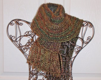 Hand Crocheted Scarf - SUPER SOFT Homespun Yard in Herb Garden - Women's Fashion Scarf, Woman's Apparel, Scarf, Scarves, Fashion Accessory