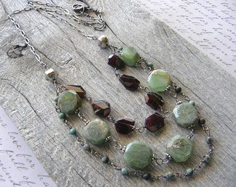 Multi-strand Peridot, Garnet and Turquoise Necklace, Sterling Silver and Green, Blue, Maroon Gemstone Layered Necklace